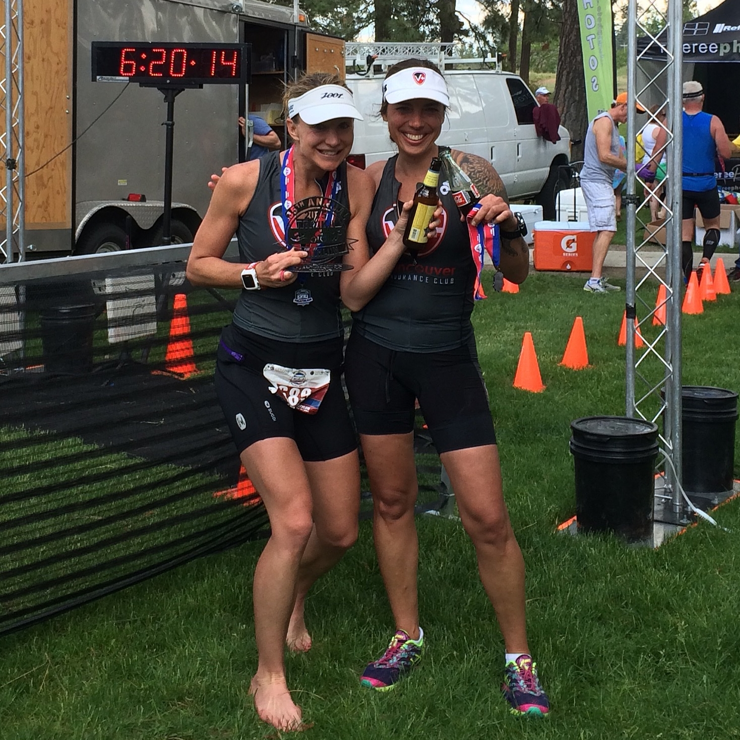 Dierdre and Juliet; post-race treats in hand