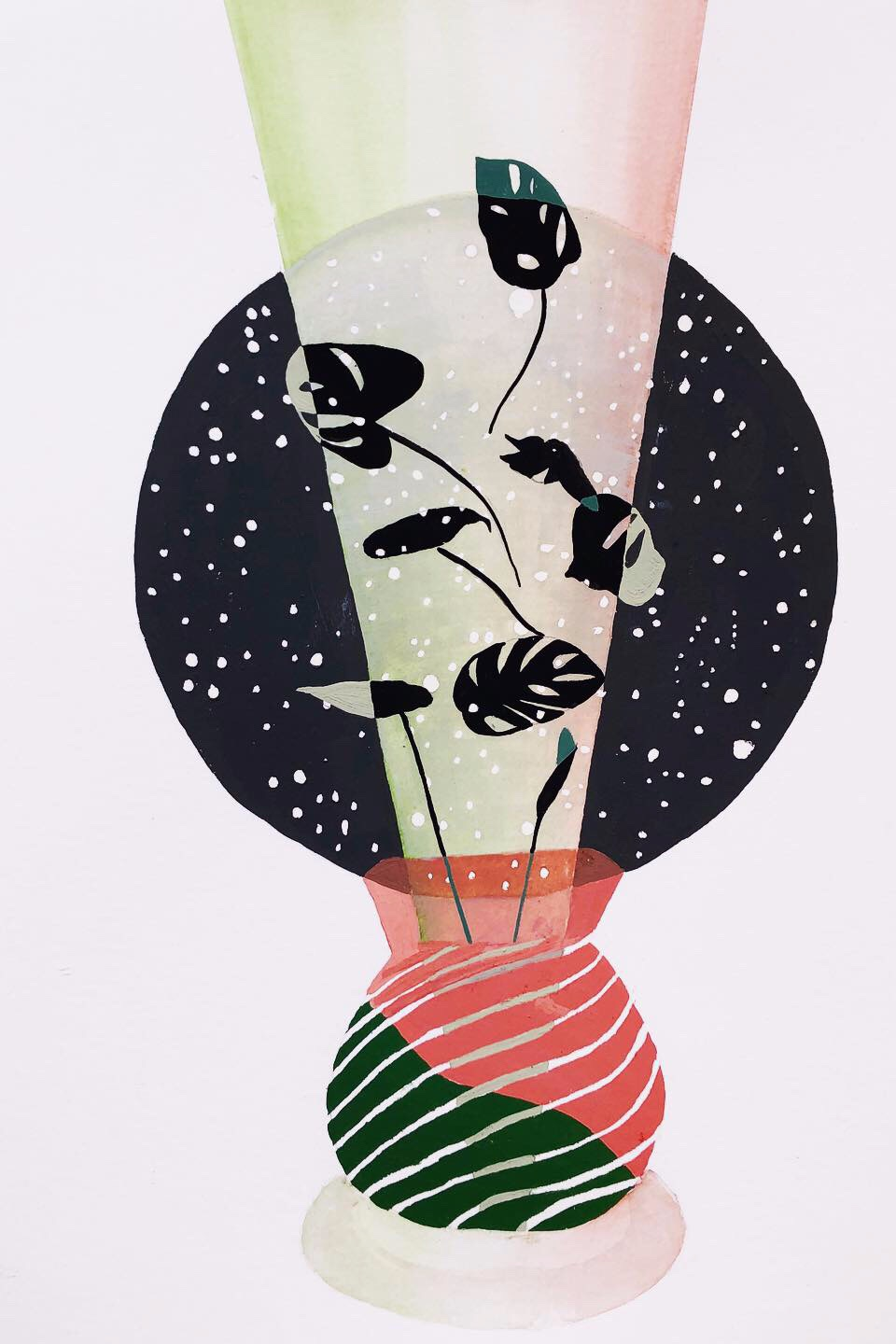 cosmic philodendron, 2019, gouache and watercolor on paper