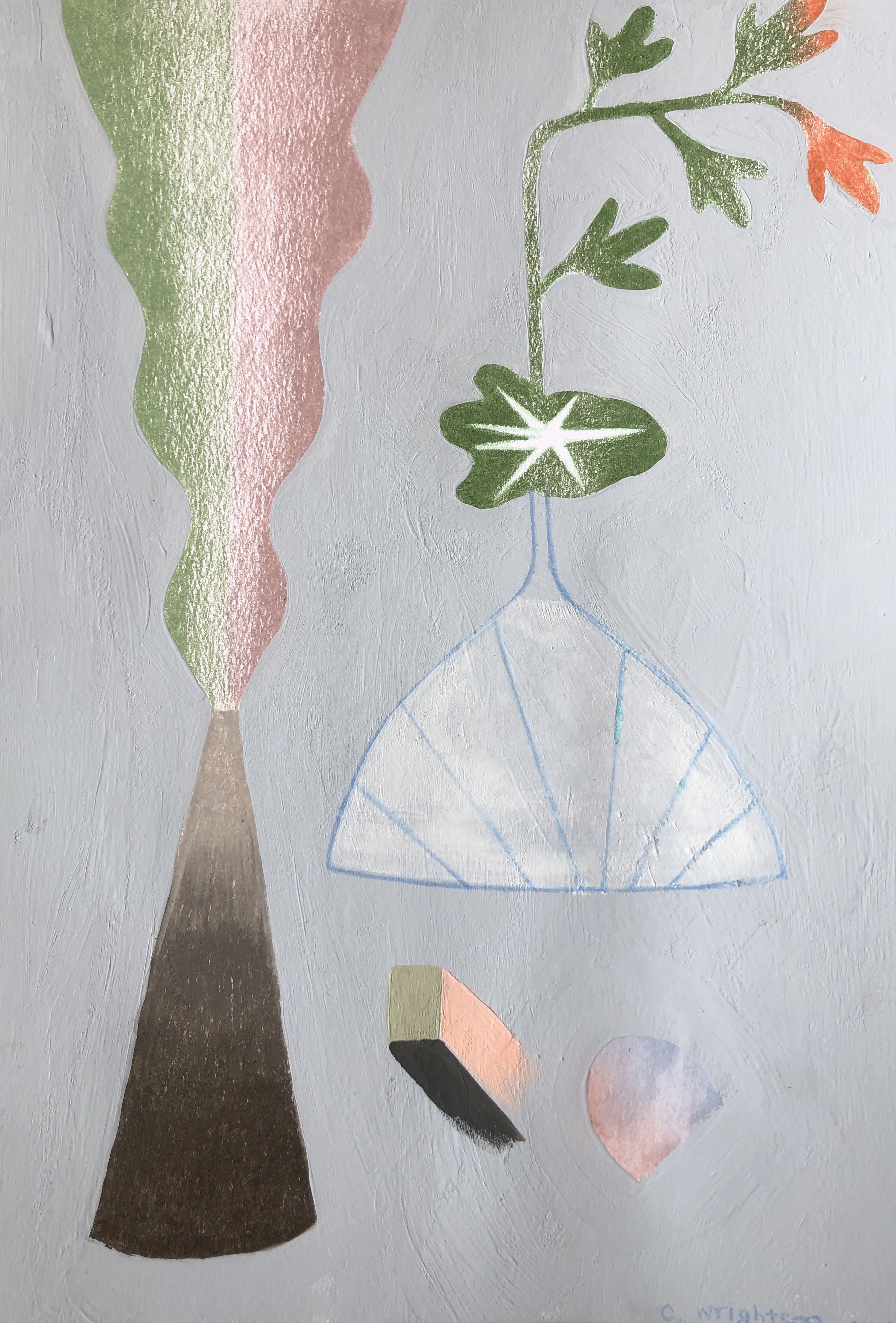 a future still life #2, 2019, gouache, watercolor, colored pencil and acrylic on paper