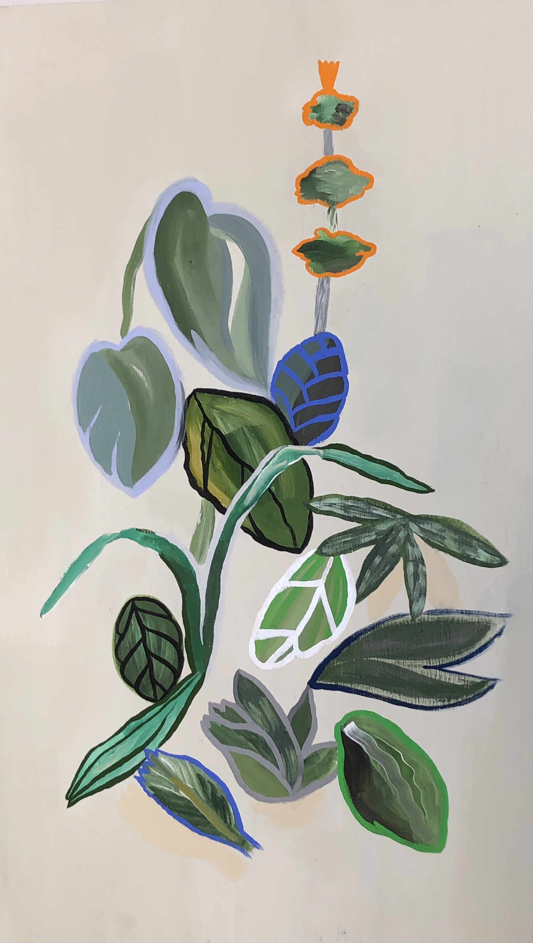 plants you don't need to water, 2019, gouache and acrylic on wood