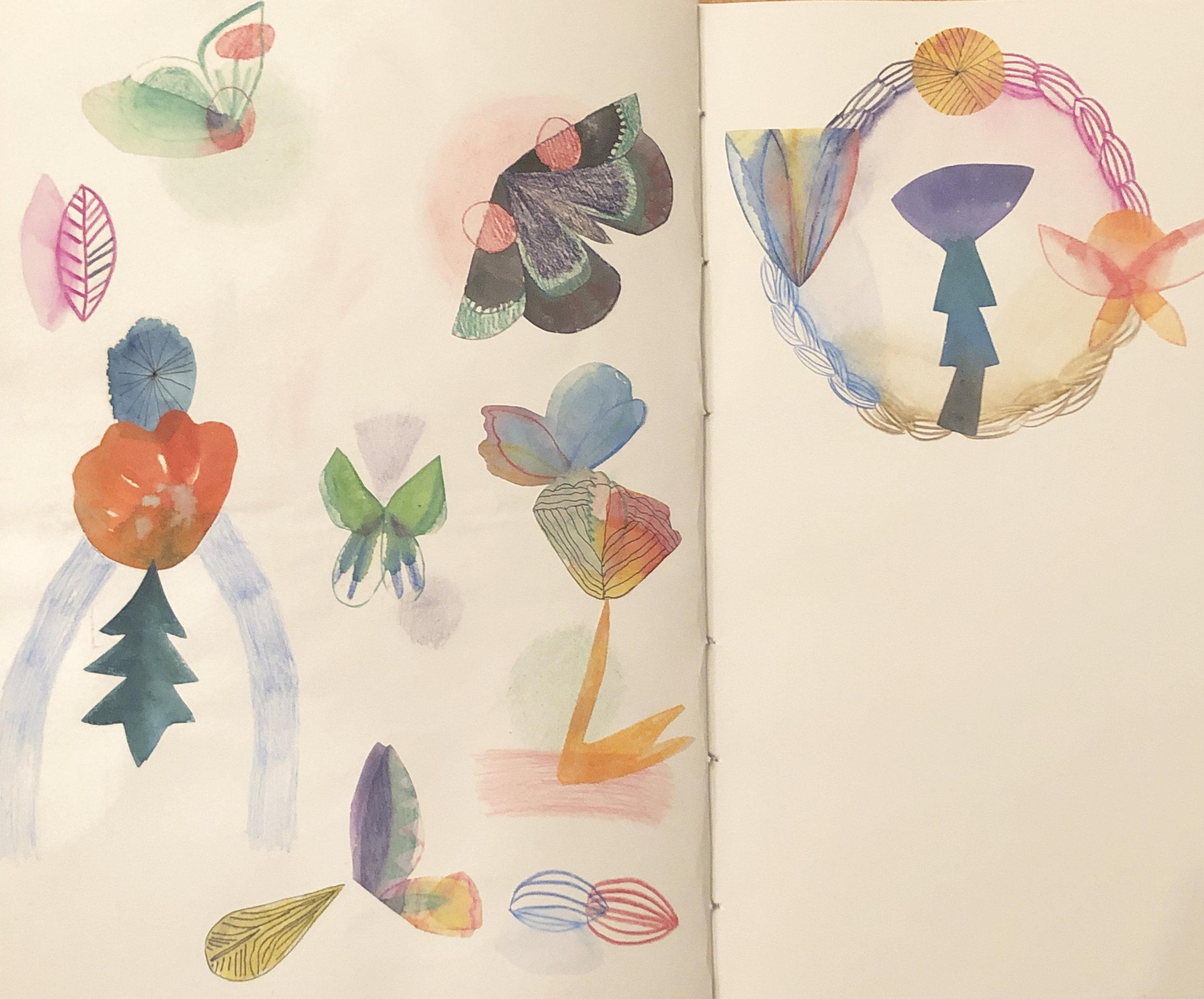 entry for Daftar Asfar Albuquerque edition, 2019, watercolor, coiored pencil and collage in sketchbook