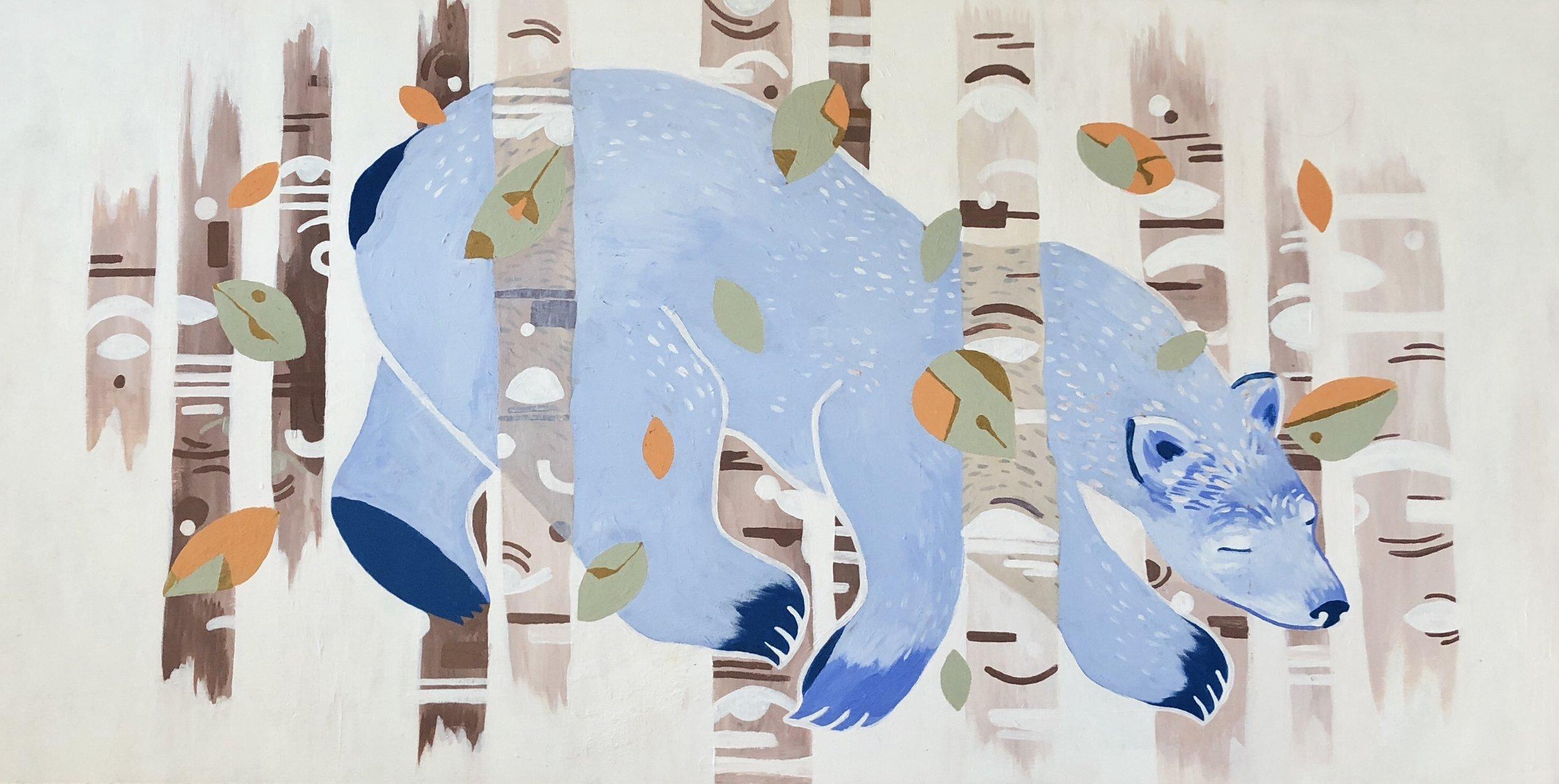 blue bear, 2016, acrylic on wood