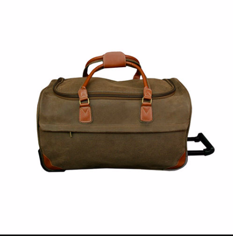 Belle Monde Brown Scotch Grain Rolling Duffle $96