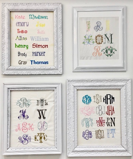 These are our favorite &most popular monograms. - And if these don't suit your fancy, come on in the store and check out our books filled with hundreds more!