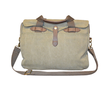 Washed Green Canvas Briefcase $90