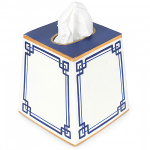Interlocking Key Blue Tissue Box Cover $31