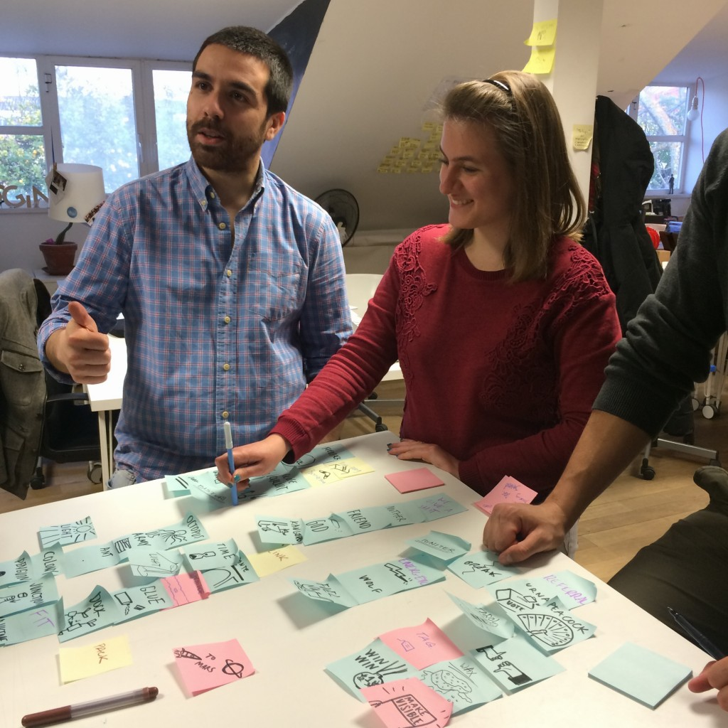 Co-founder Pedro Oliveira and With Company's Lorena Wildering having an earnest debate about pastel vs. primary-colour Post-Its.