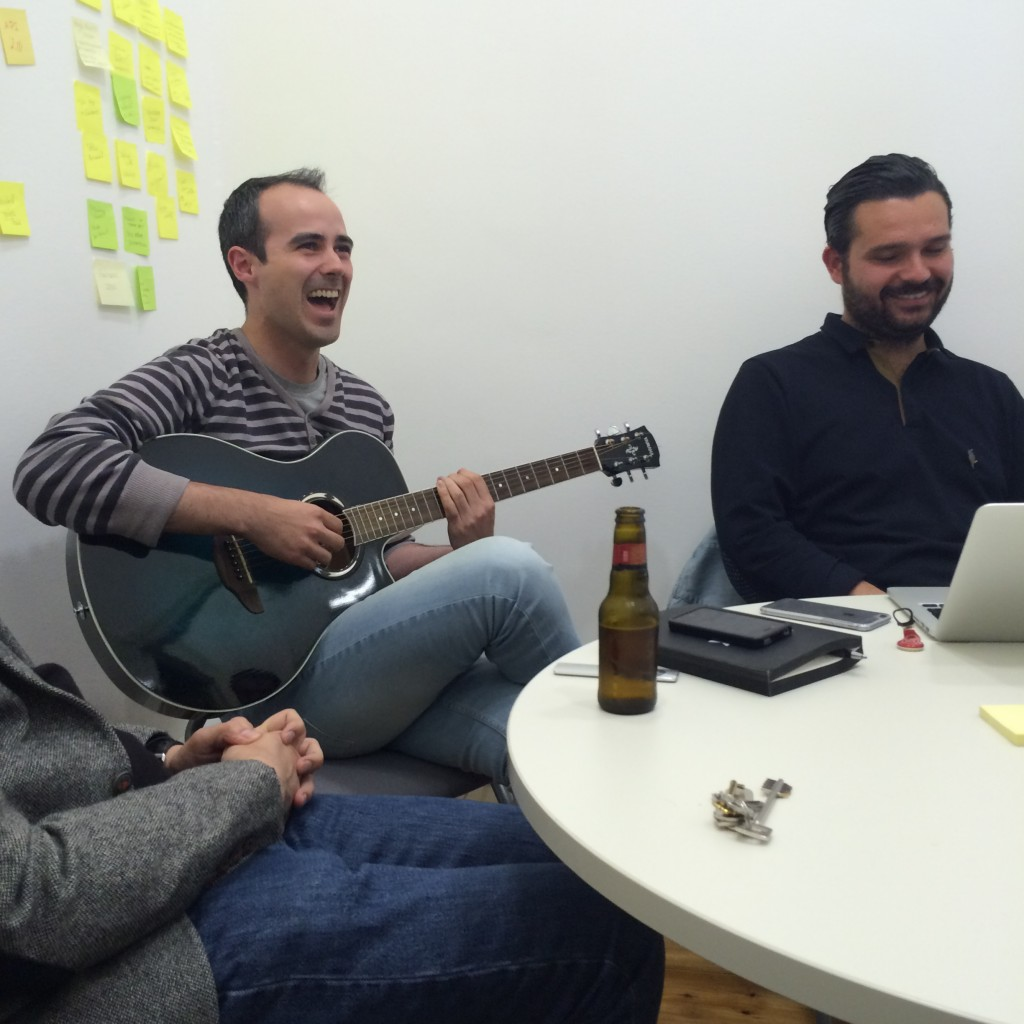 Head of Product Tiago Moreiras and With Company's Rui Quinta decide that four months of meetings call for guitars and beer.