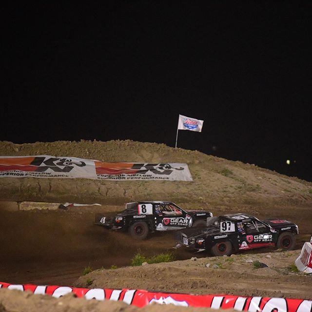 @sarahburgess97 and @bridgetburgess8 flying around Glen Helen Raceway in their Prolite trucks powered by Gear Off Road!  #gearalloy #atdwheels #gearoffroad #lucasoil #xalta #bmiracing #prolite