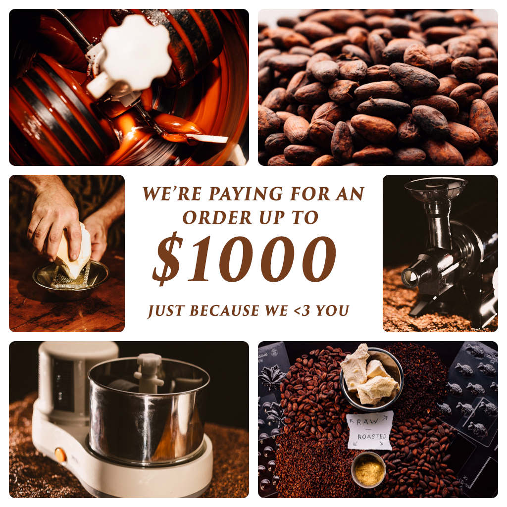 20,000 orders is worth giving back - That back story on this is that I am so appreciative of the support that all of you have given over the years making Chocolate Alchemy a success and heralding in this new bean to bar movement.  I was told 15 years ago that it was impossible to make chocolate at home.  That there was no equipment and that it was too complicated.  I didn't believe that and worked out how to do it and created Chocolate Alchemy as a result.  For all I knew no one would want to actually make chocolate at home.  But I didn't believe that and now we are within a stone's throw of 20,000 orders (really retail orders, it's past that in total), i.e. Order 20,000.To that end, whoever orders and gets Order 20,000 will get it for free (I'll actually not accept the credit card payment or refund if it is Paypal).