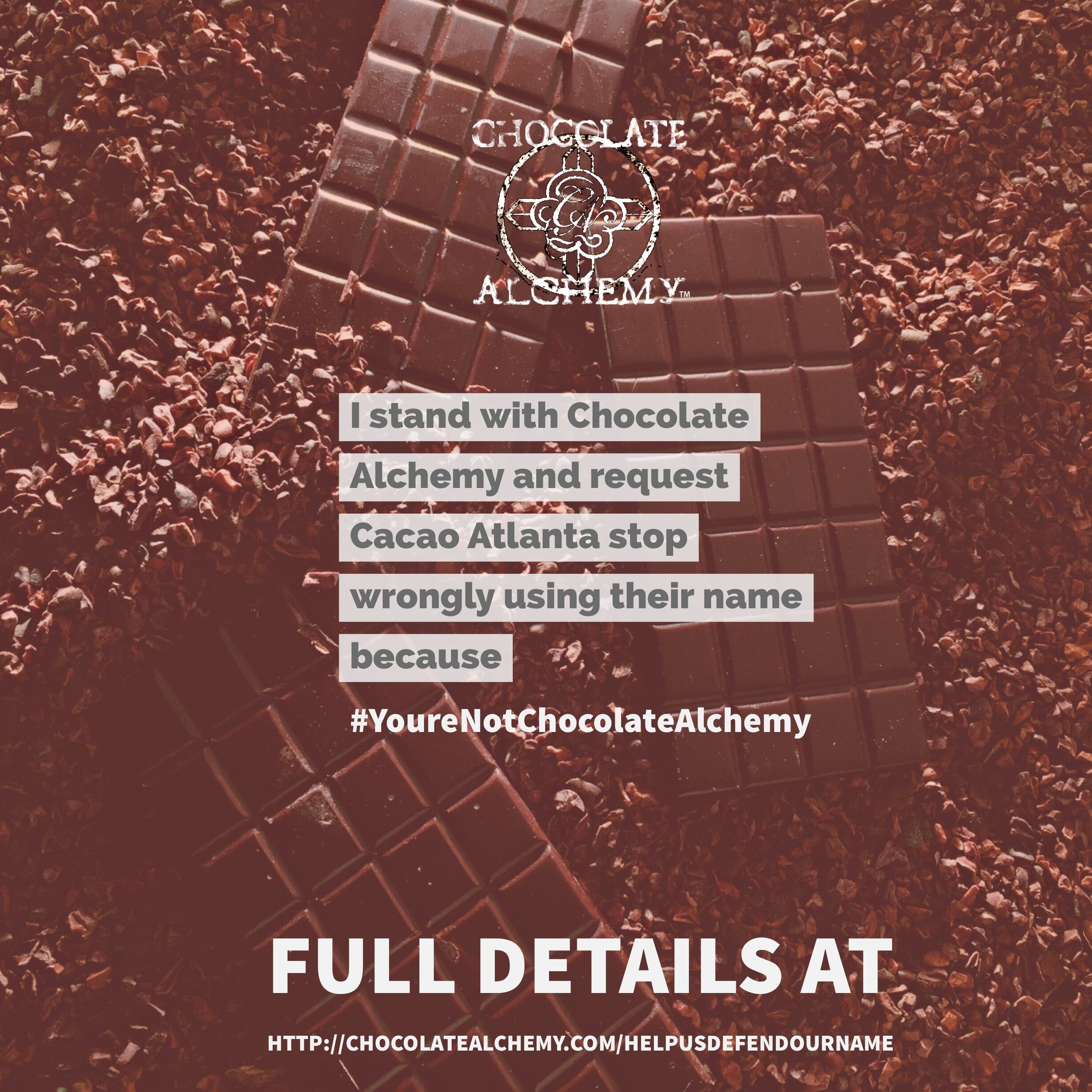 Right click and save this image then Share it, tag them, @cacaoatlanta and use the hashtag #yourenotchocolatealchemy