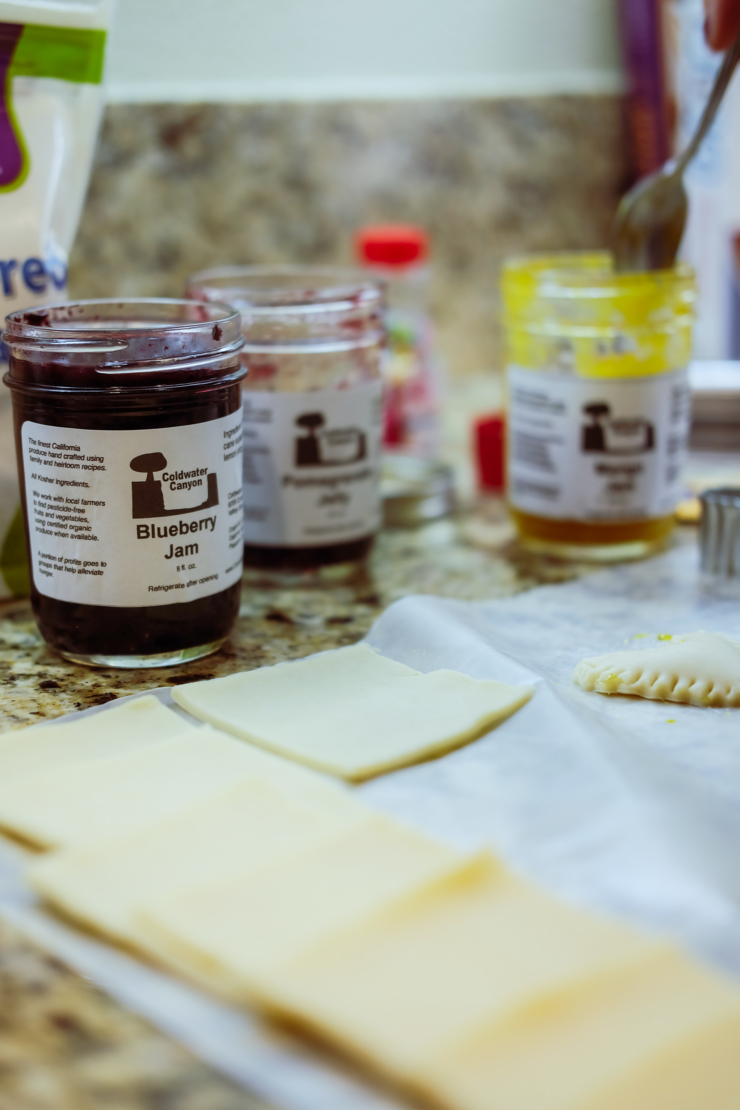 These are the 3 flavors of jams we chose!