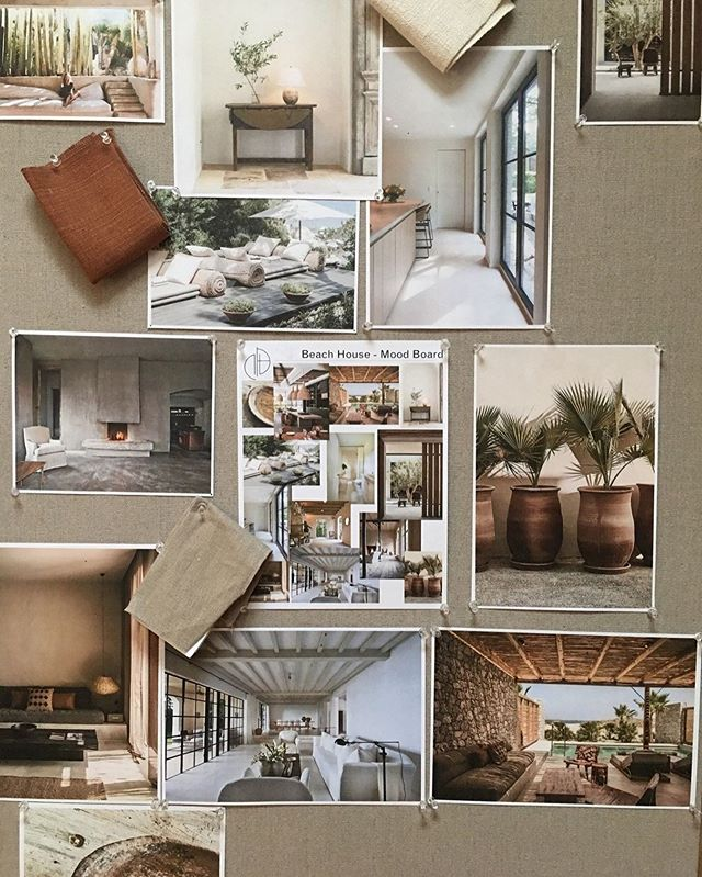 "Friday Moodboard got us thinking about the beach. Use travel as your inspiration, but never take it literally. ""Beach House"" doesn't necessarily mean palm trees and seashells. Instead, look for colors, textures and architecture that evoke that feeling. #JBDesignDaily #JBDworks"