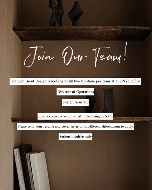 WE'RE HIRING! Tag a friend that would be interested in joining our #JBDworks team. Must be based in NYC. Prior experience required. Please send all resume to info@jeremiahbrent.com — Serious inquiries only.