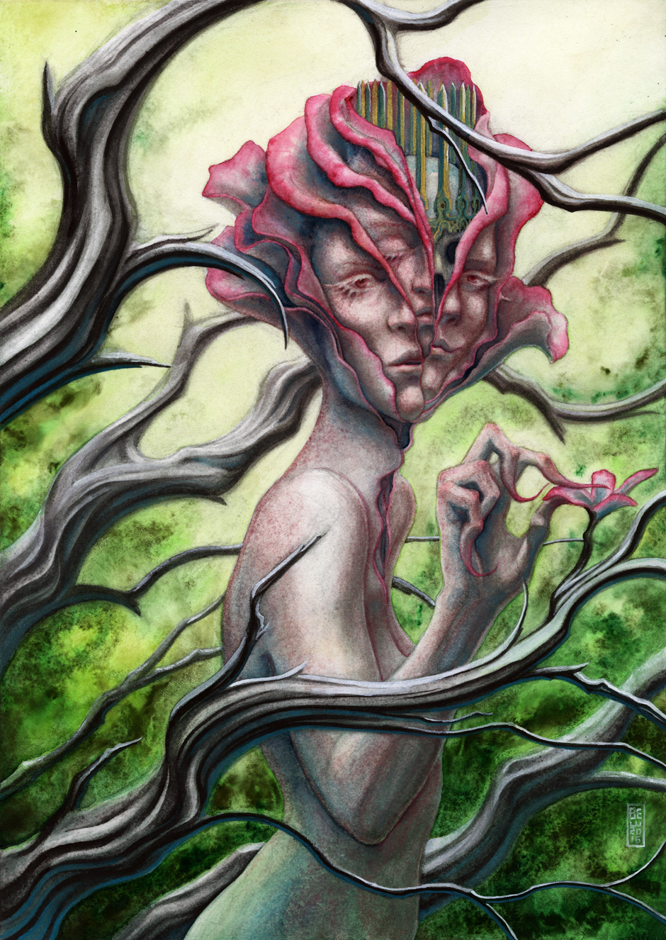 "DRYAD  12x16"" watercolor + colored pencil personal work 2016"