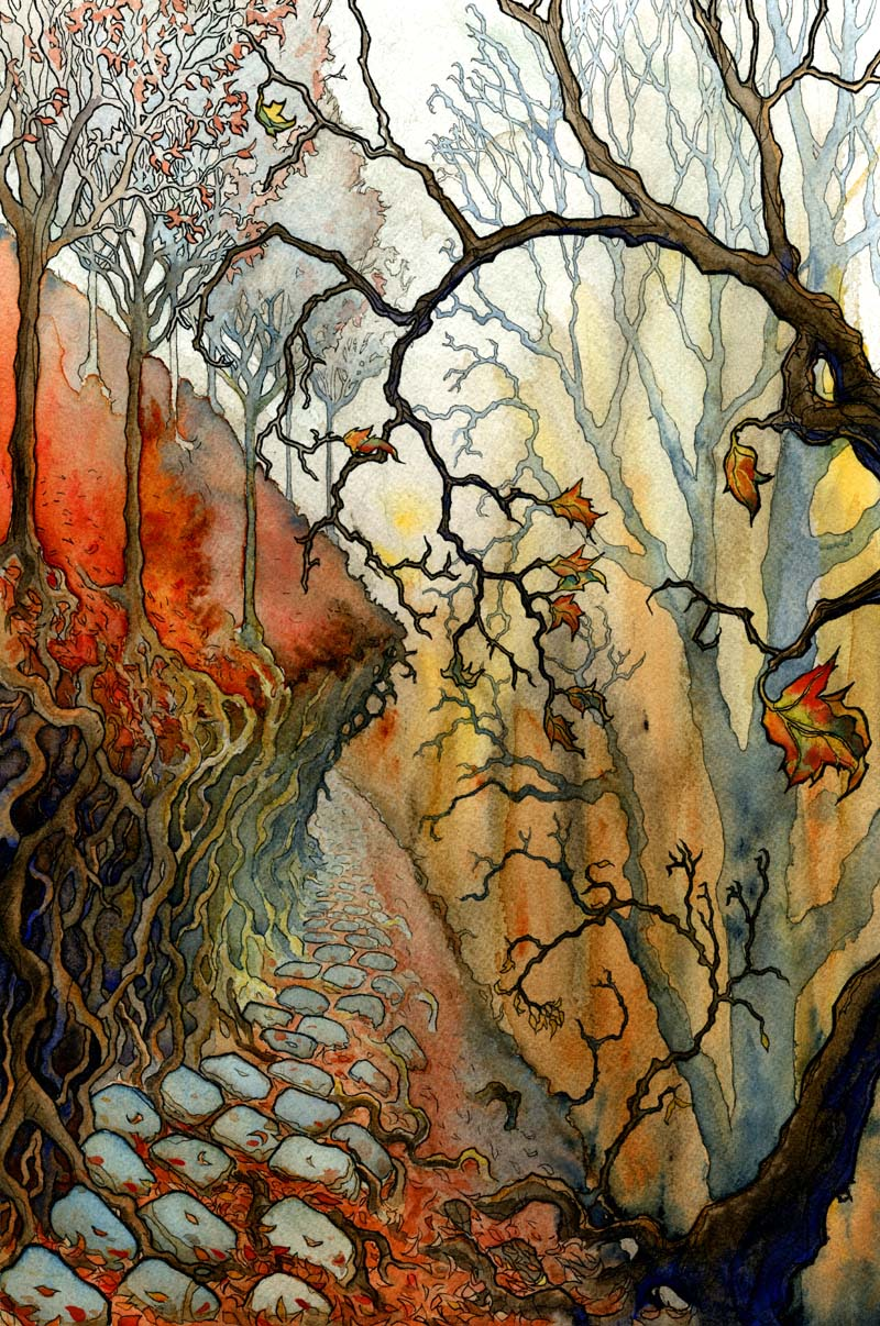"SPOOKY FOREST CONCEPT  10x17"" watercolor + colored pencil personal work 2012"