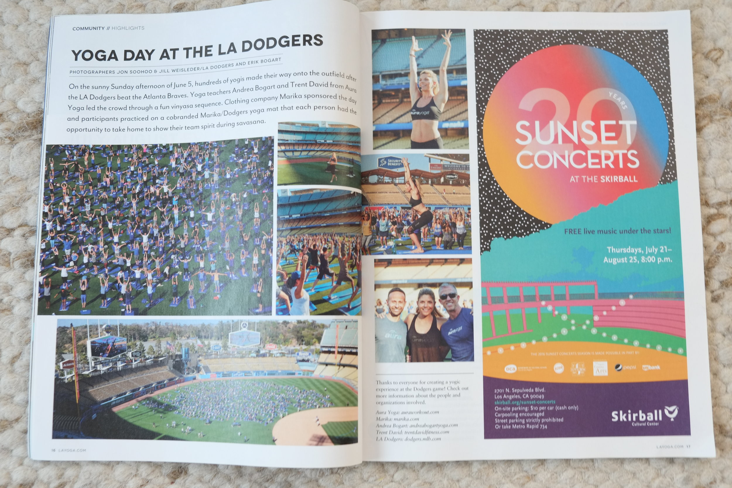 Yoga Journal Features Yoga Day At Dodger Stadium