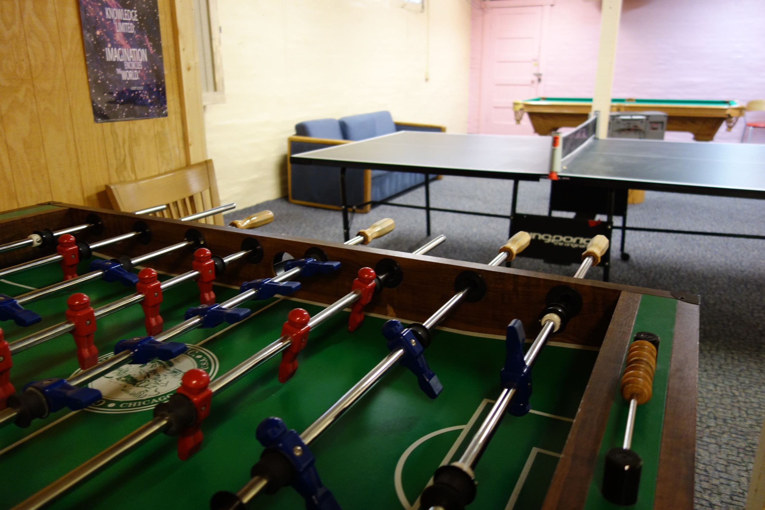 The leisure rooms includes games, foosball, table tennis, and a pool table.
