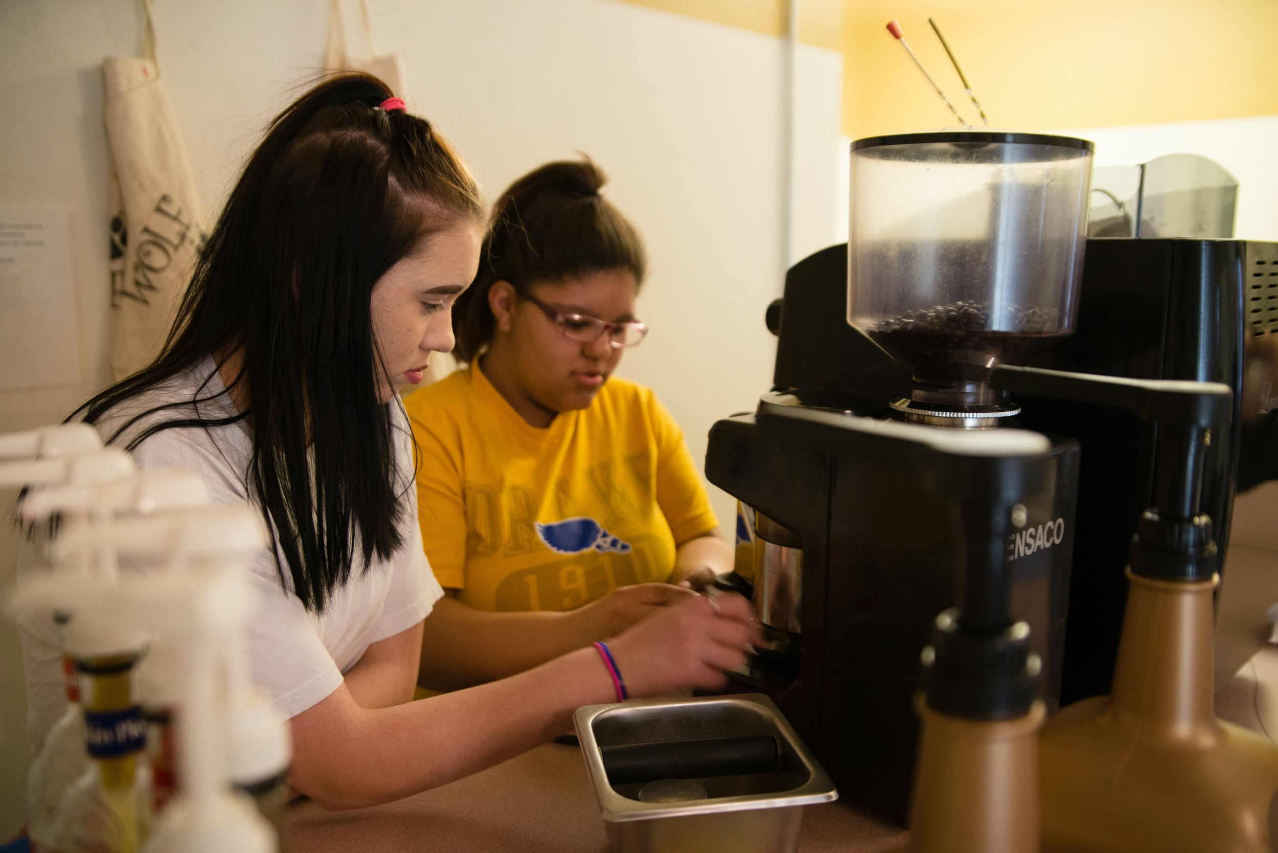 The Wolf Pack Cafe is our student-run coffee cart business.