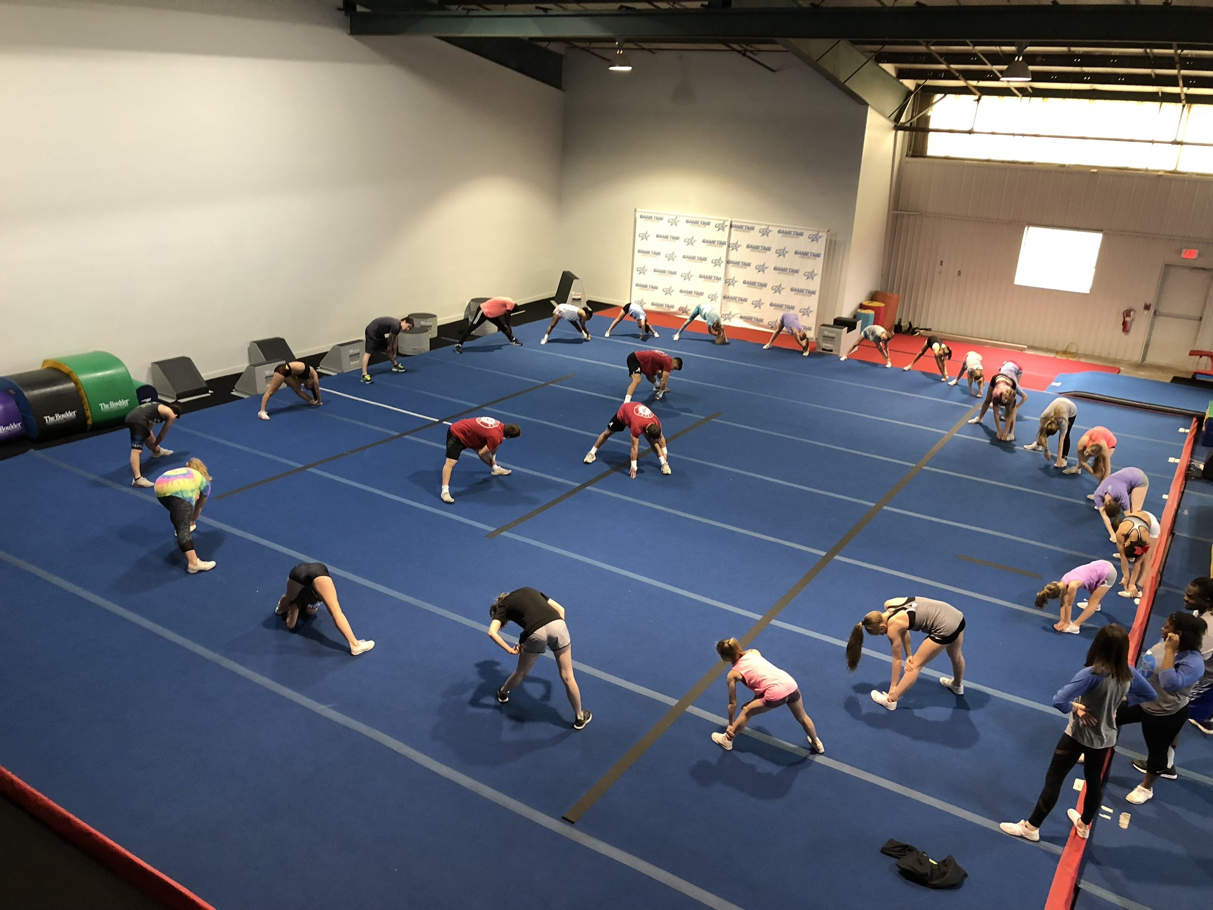 Tumbling Classes - Our tumbling classes are typically one hour and meet once a week to train small groups of athletes working on similar skills.