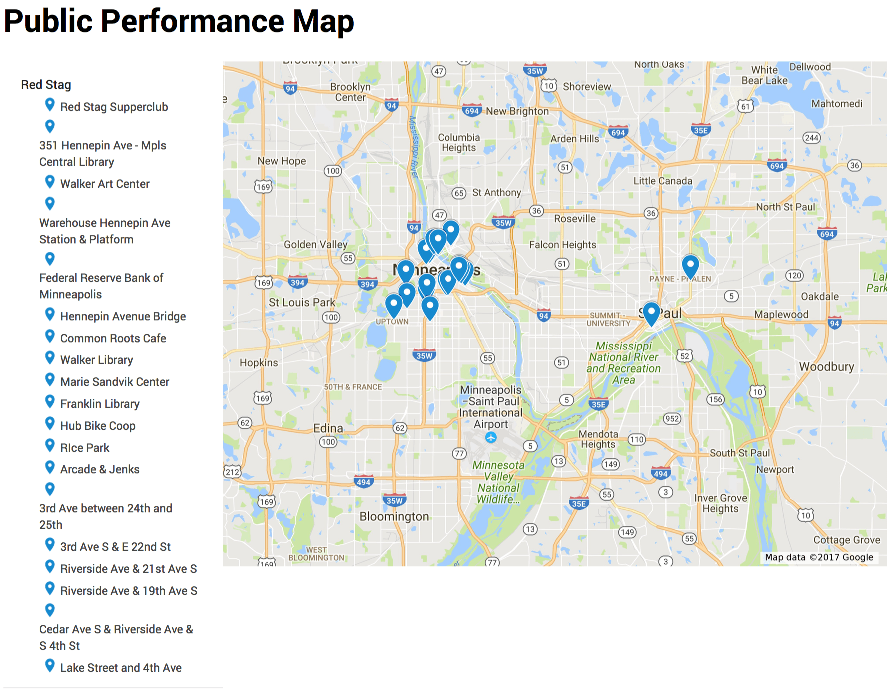 Public Performance Map