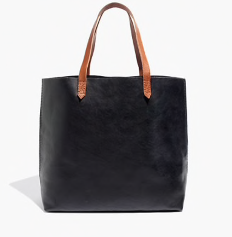An Oversized Tote   So that moms can carry whatever they need in style. This one from Madewell mixes brown and black to ensure it will match anything.