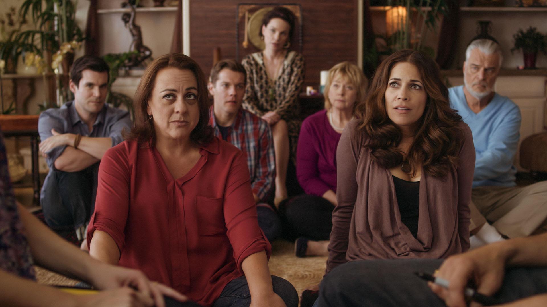 Kat (Tara Karsian) and Sam (Andrea Grano) in group therapy