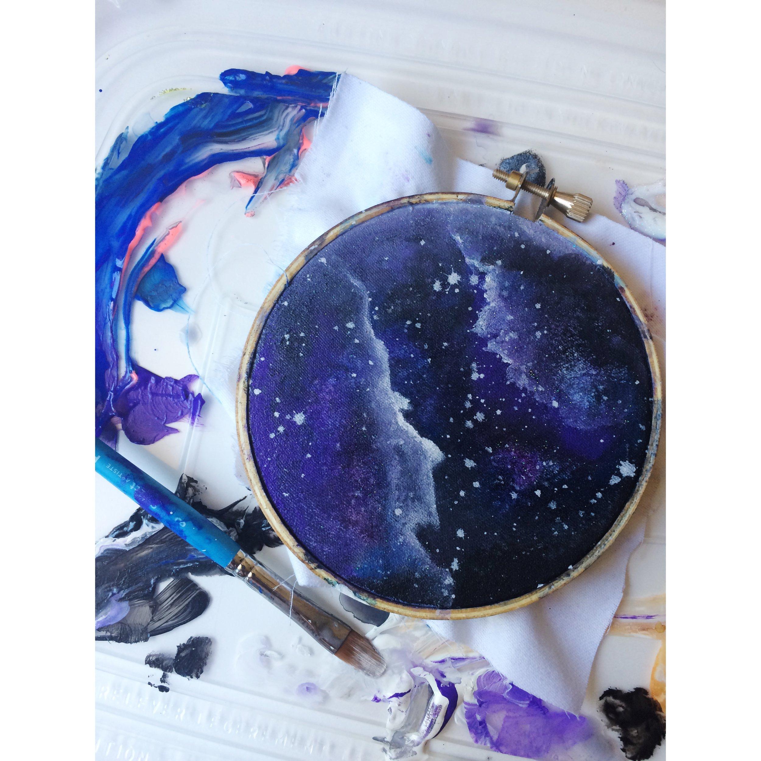 Purple Galaxy Hoop Painting