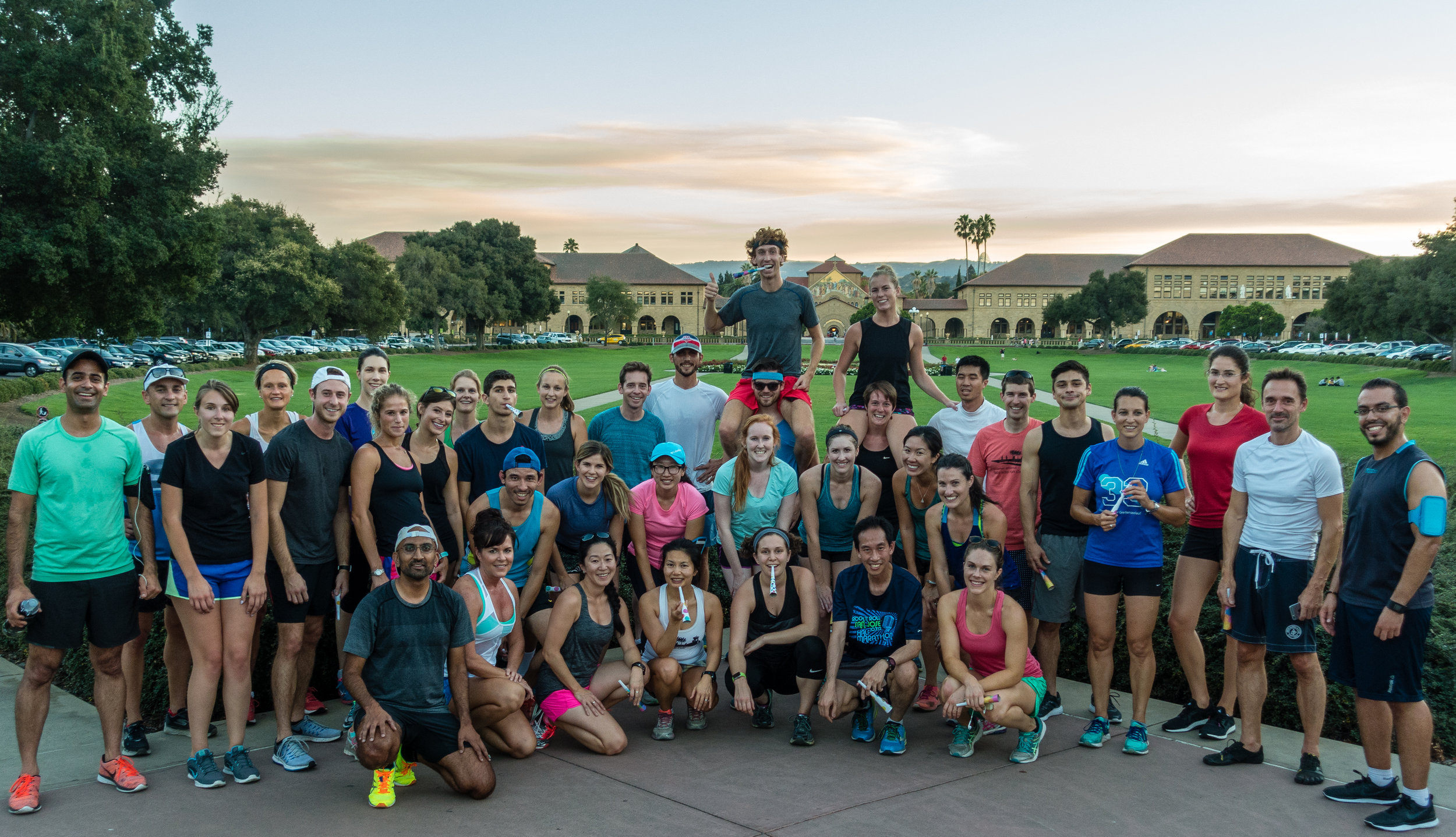 Lululemon Palo Alto Run Group   Photo credit goes to Shyamal Kapadia who has coached throughout the Bay Area. This picture was taken right before our very own community leaders Kelsey and Dave Tilley left to travel the world. We celebrated with them in typical run club style with a run around Stanford's campus loop.