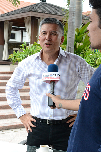 Mr. Leo de Leon, President and General Manager of Allegro Beverage Corporation, gladly posed for a shot and an interview before the start of the press conference.