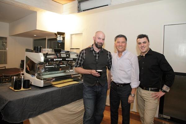 From left: Pete Licata, 2013-2014 World Barista Champion; Leo de Leon, president and general manager, Allegro Beverage Corp.; and Michele Mastrocola, Asia-Pacific sales manager, Nuova Simonelli.