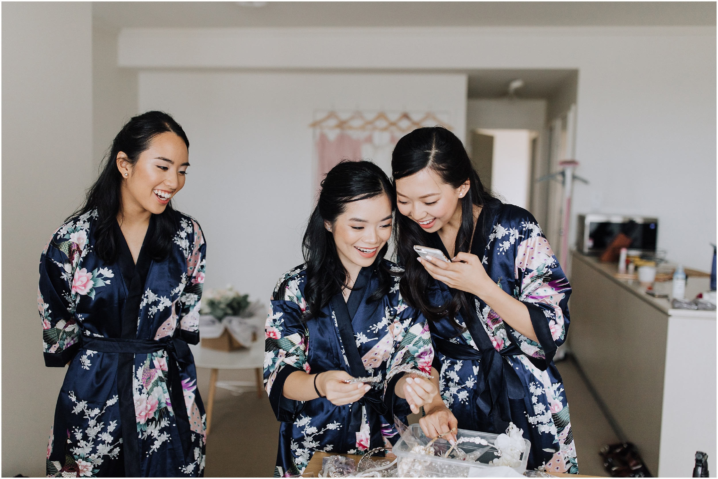 Bridesmaids in blue dressing gowns