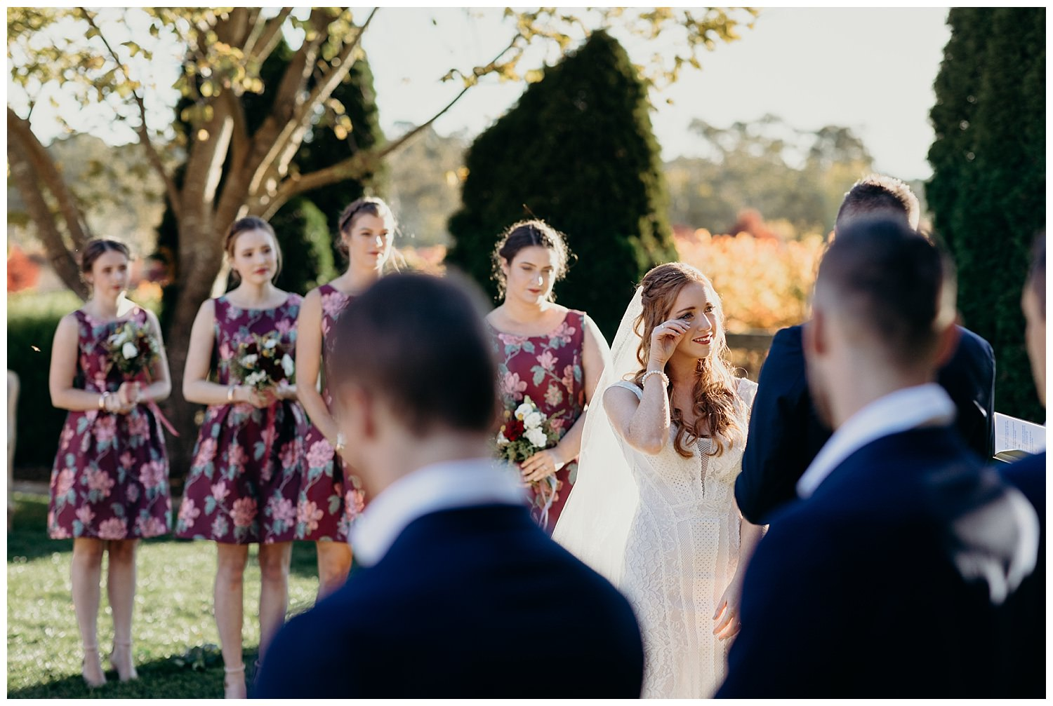 Bowral Southern Highlands Autumn Wedding - Bride wiping away tears