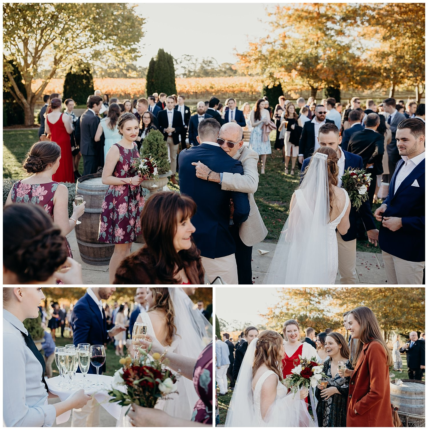 Bowral Southern Highlands Autumn Wedding - Mingling with guests after Centennial Vineyards ceremony