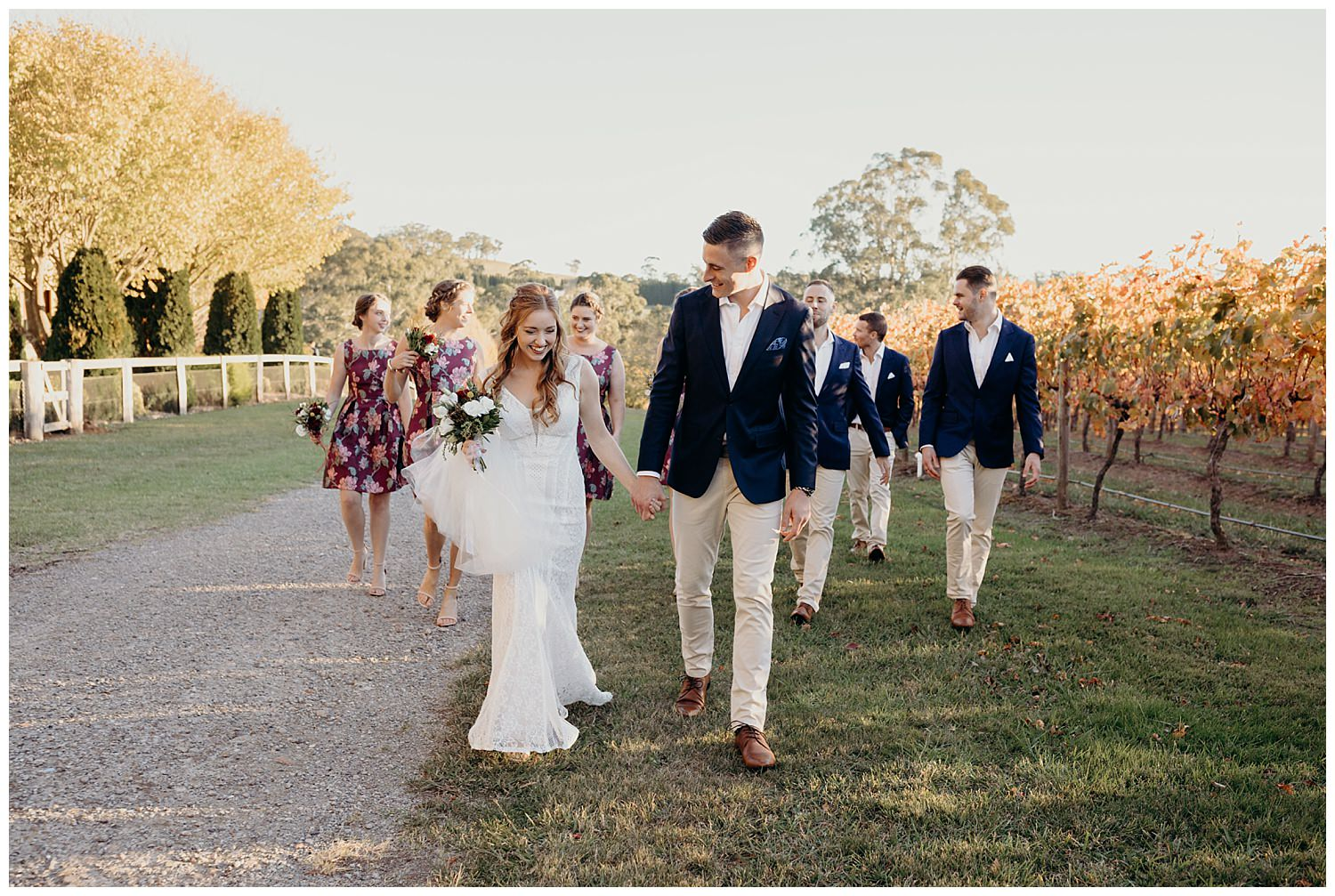 Bowral Southern Highlands Autumn Wedding - Bridal party candid sunset photo