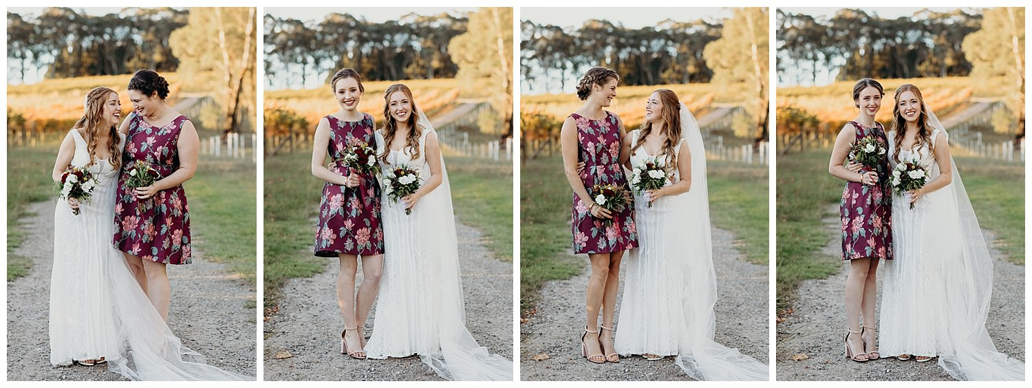 Bowral Southern Highlands Autumn Wedding - Bride and bridesmaids in Mon Cheri
