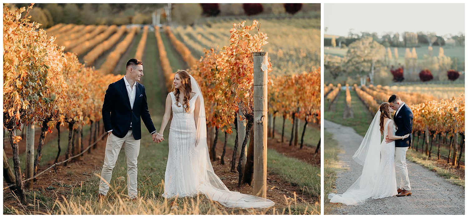 Bowral Southern Highlands Autumn Wedding - Centennial Vineyards sunset colours