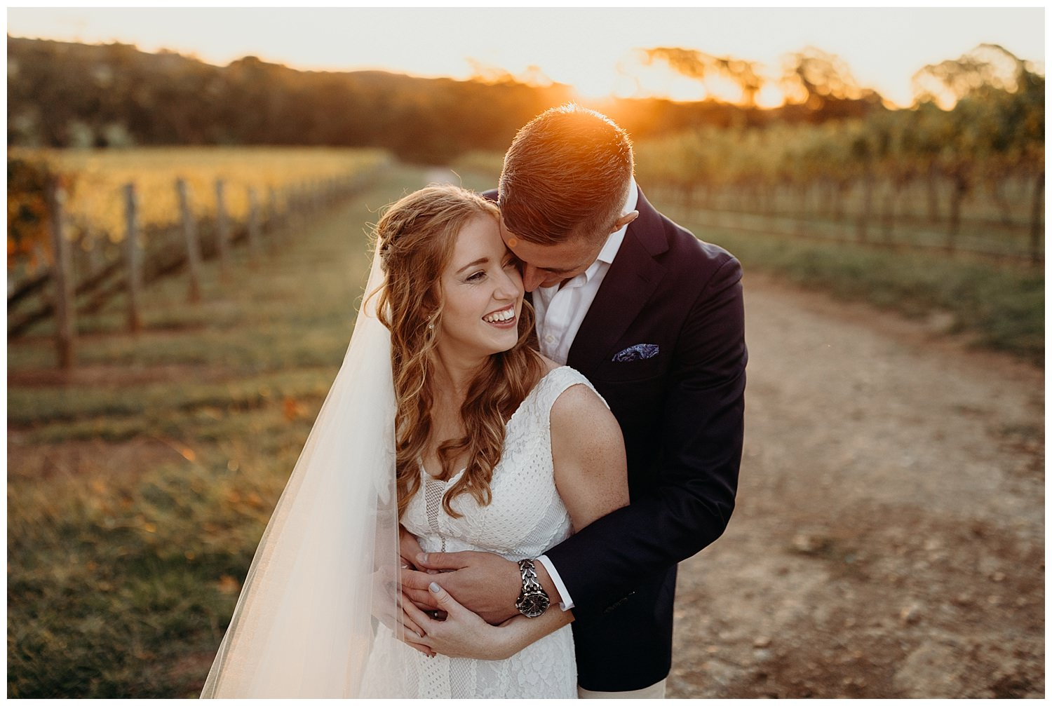 Bowral Southern Highlands Autumn Wedding - Bride and groom at sunset