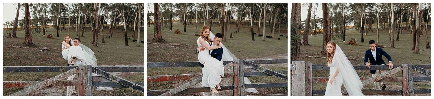 Bowral Southern Highlands Autumn Wedding - Groom lifts bride over fence
