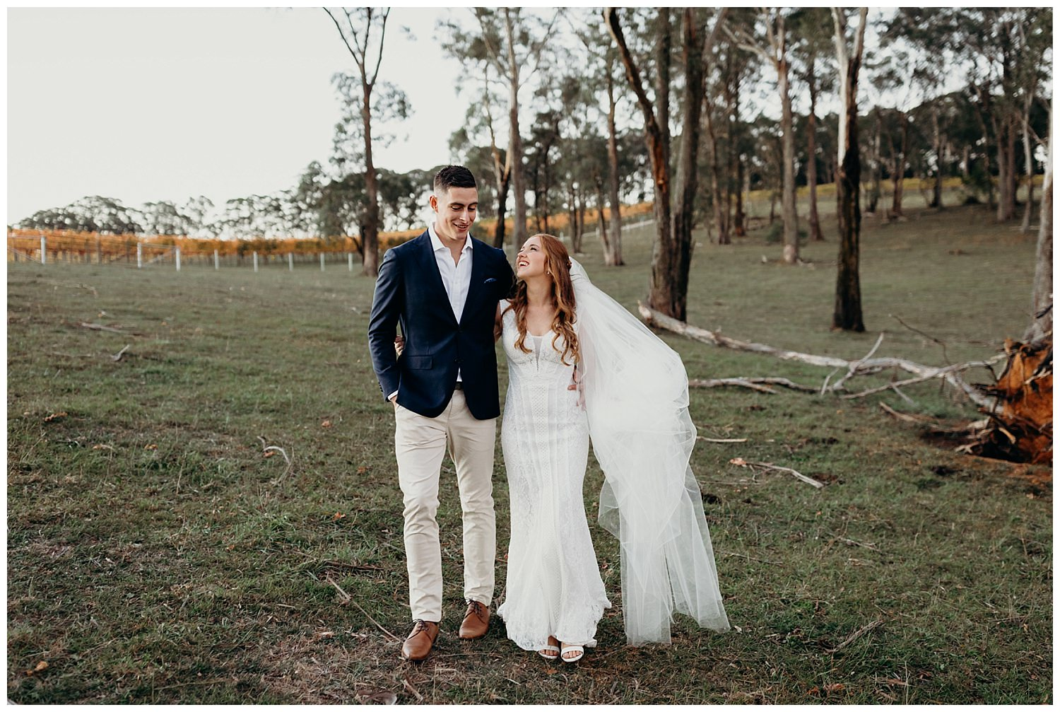 Bowral Southern Highlands Autumn Wedding - Bride and groom candid portrait