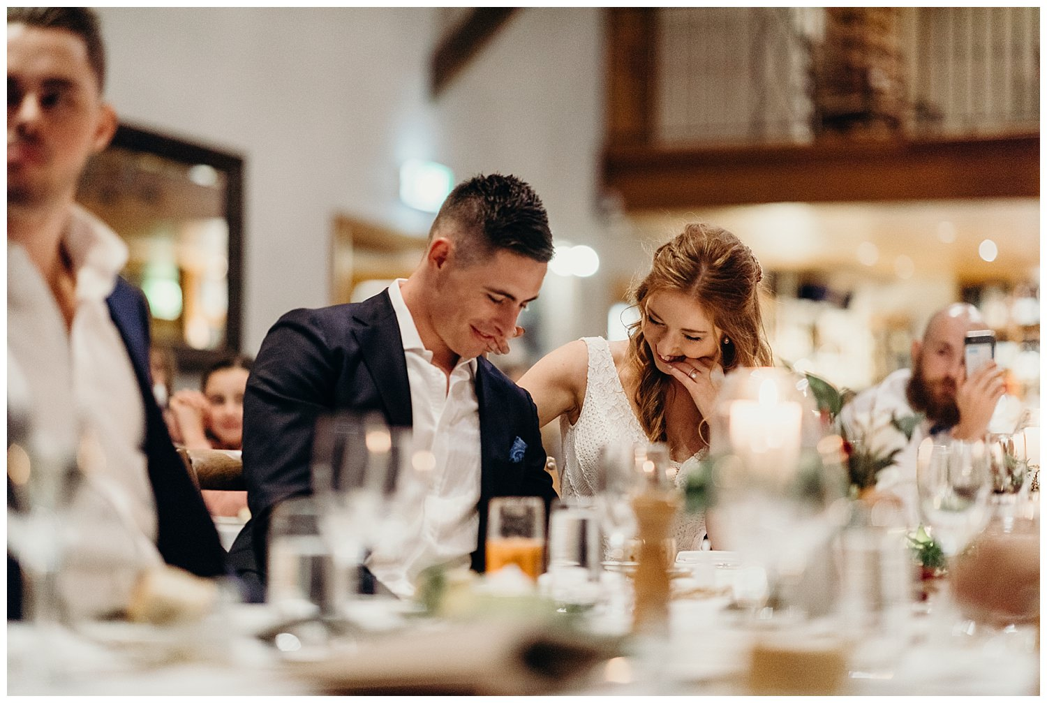 Bowral Southern Highlands Autumn Wedding - Bride and groom candid reaction