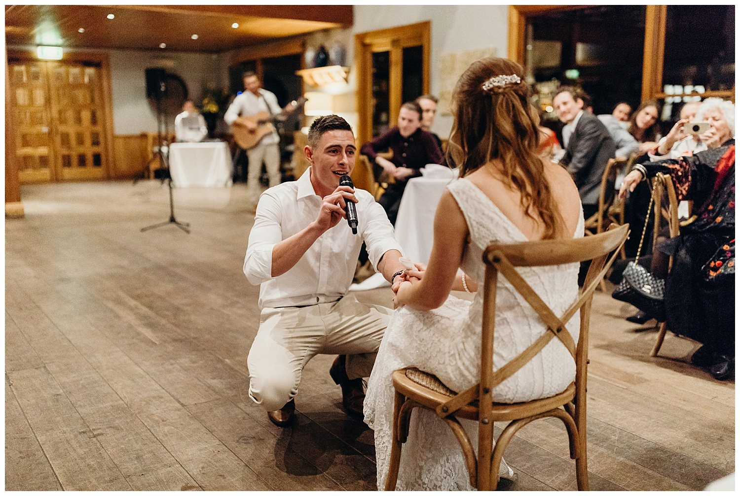 Bowral Southern Highlands Autumn Wedding - Groom singing for bride at Centennial Vineyards Reception