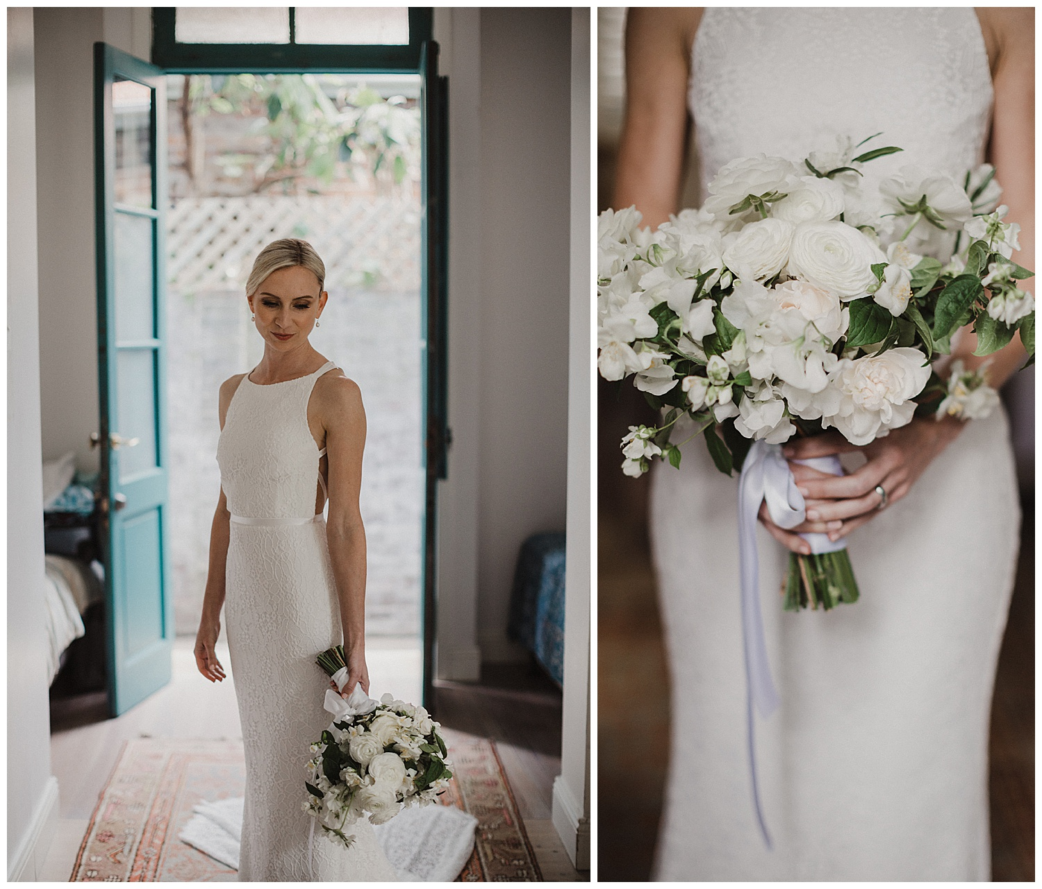 Sydney Bride wearing Karen Willis Holmes dress and flowers by Poho