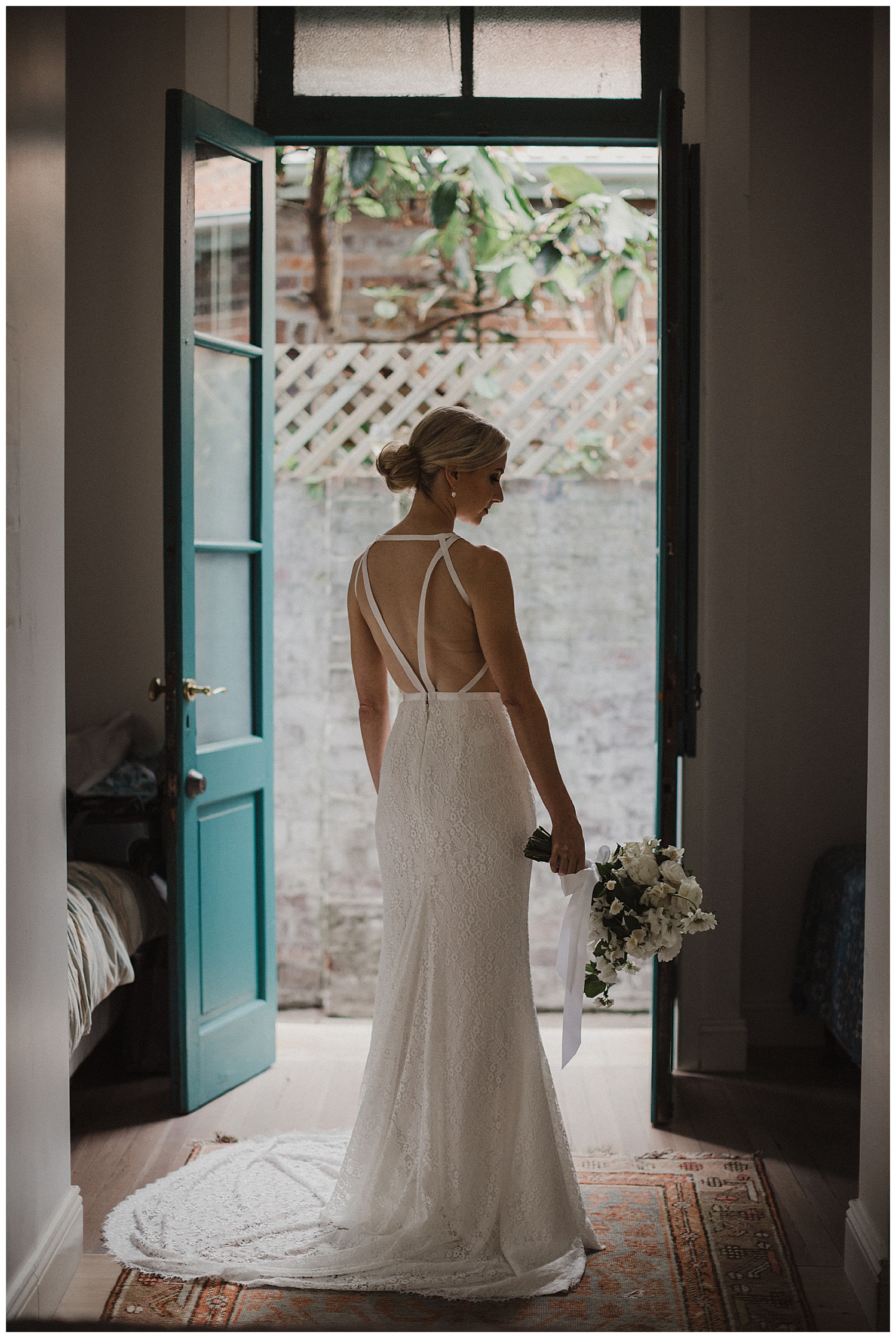 Sydney Bride in Karen Willis Holmes, Poho Flowers, at Bondi Beach Prep