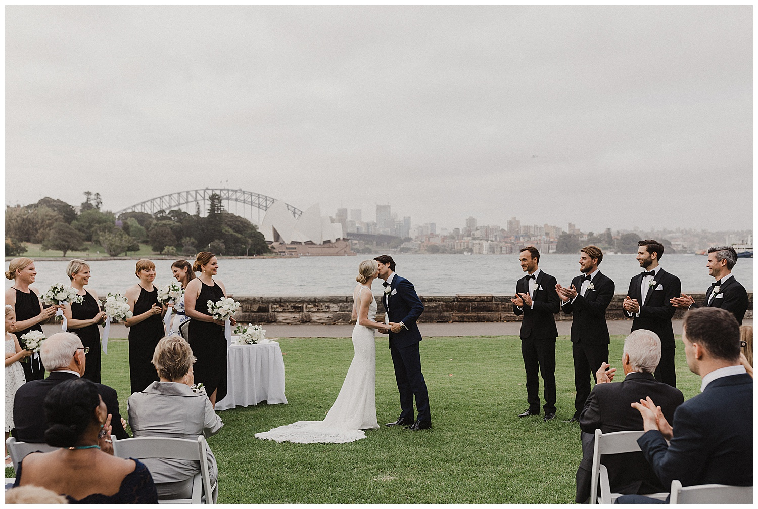 A couple's first kiss at a Sydney Royal Botanic Gardens Wedding