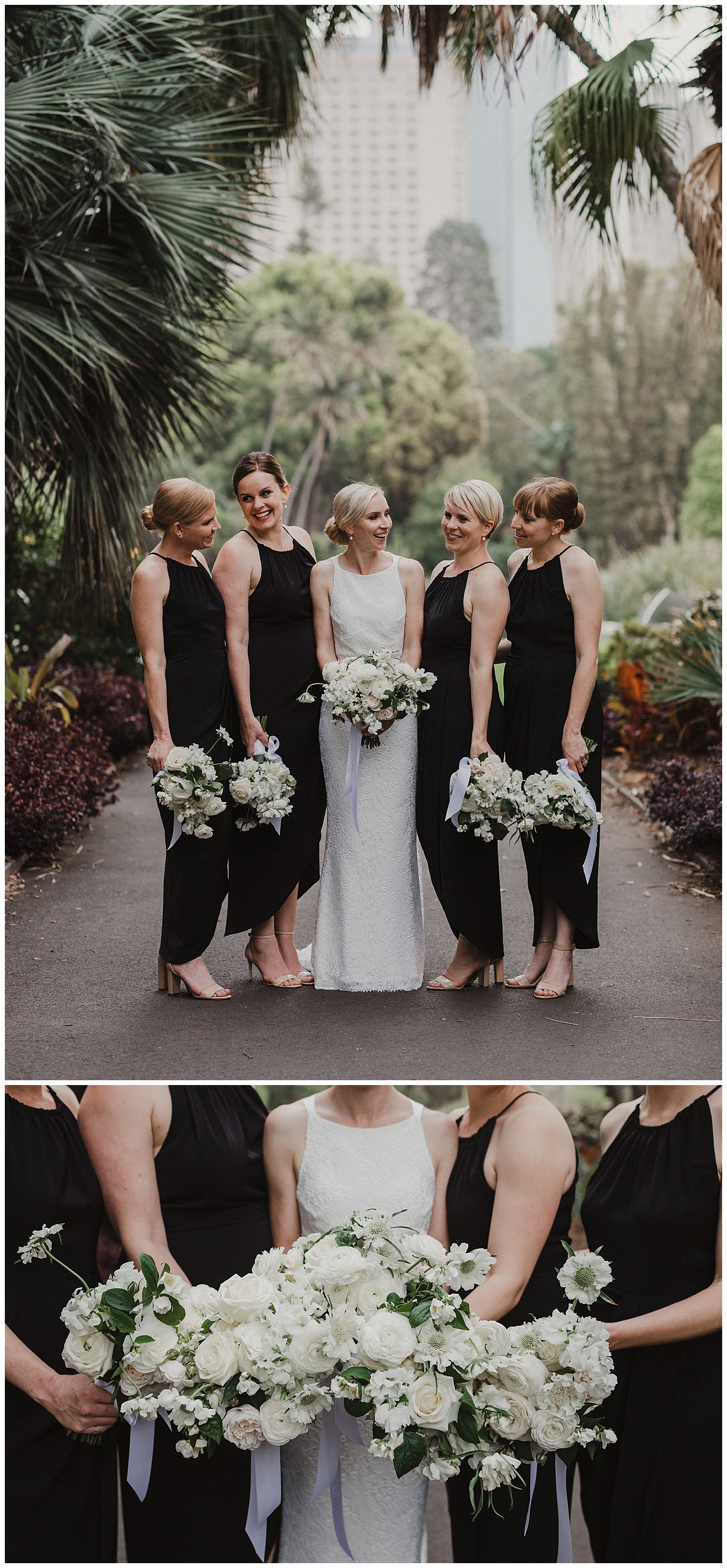 Bride and Bridesmaids have their portraits at the Royal Botanic Gardens Sydney