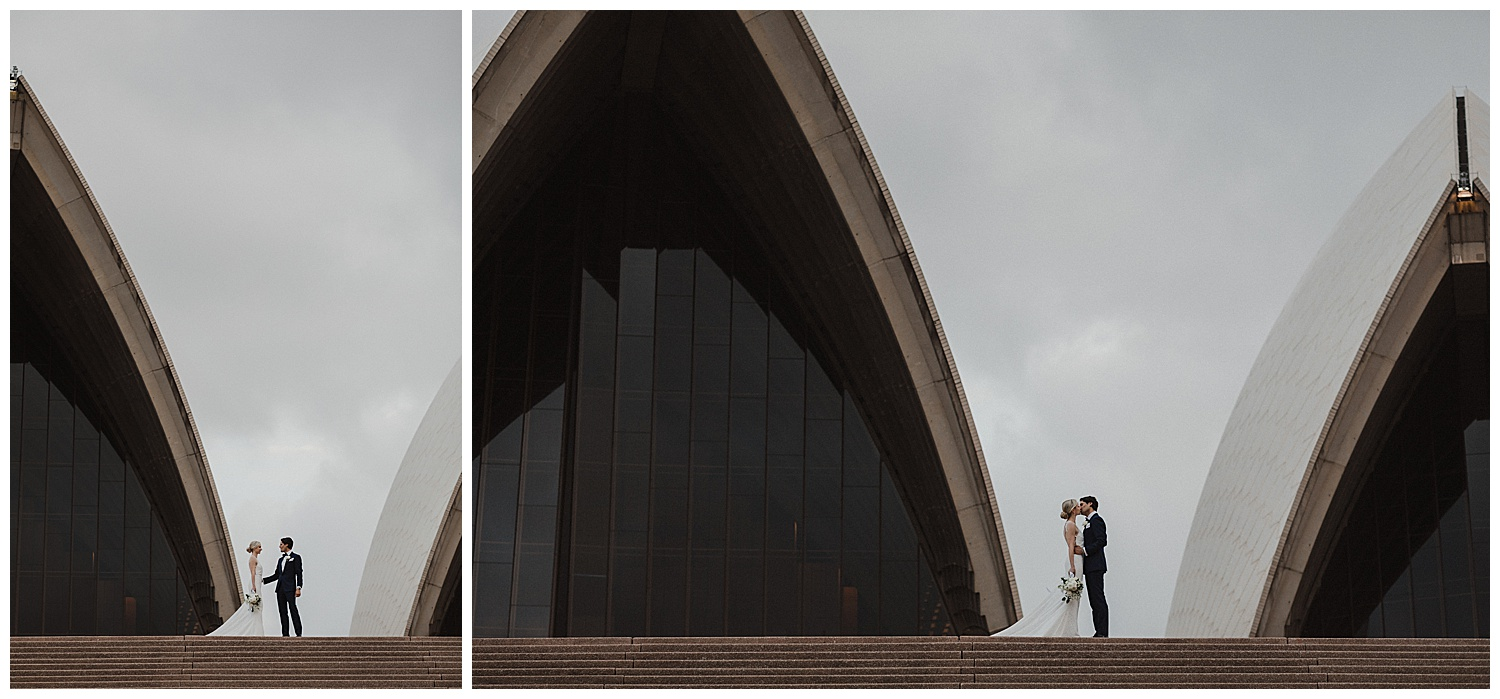 Bride and Groom share a moment on the steps of the Sydney Opera House