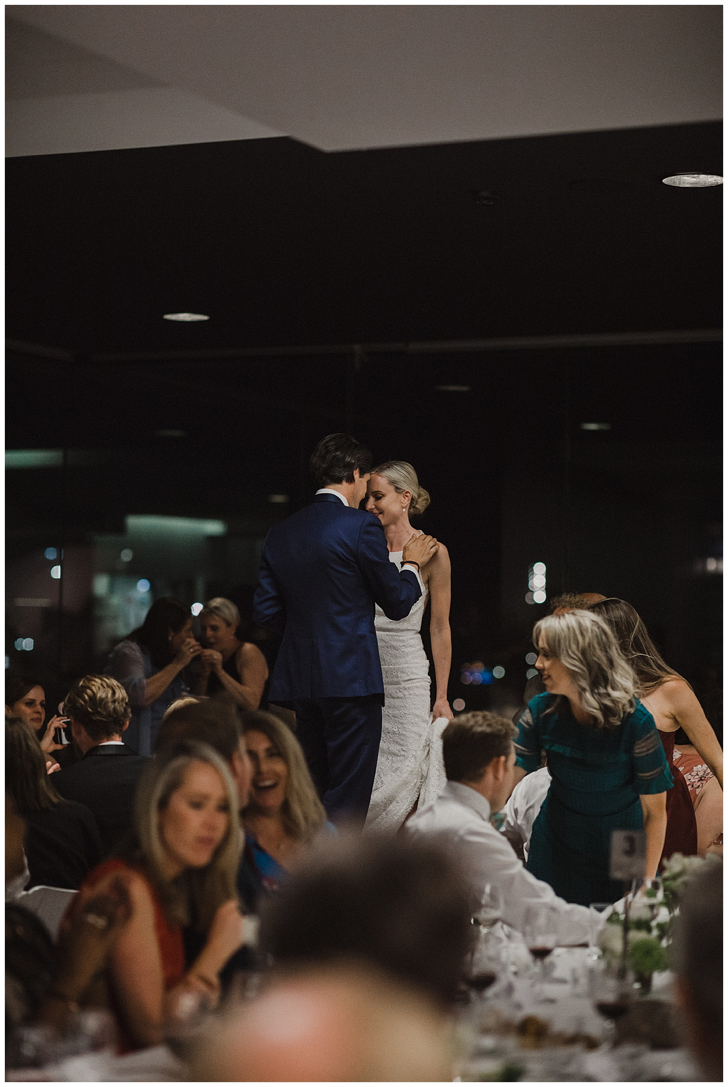 Bride and Groom share a special moment during their wedding reception at MCA Sydney.