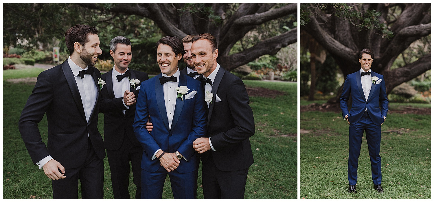 Groom and Groomsmen have their portraits taken at the Sydney Botanic Gardens