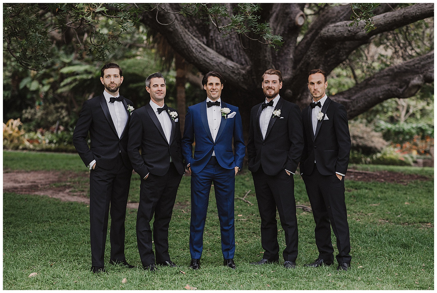Groom and Groomsmen at the Royal Botanic Gardens after Sydney Wedding